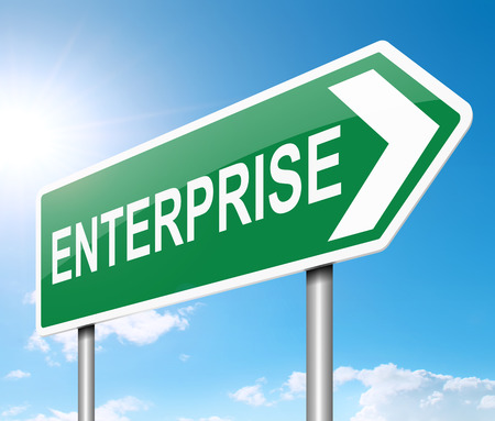 endeavor: Illustration depicting a sign with an enterprise concept. Stock Photo