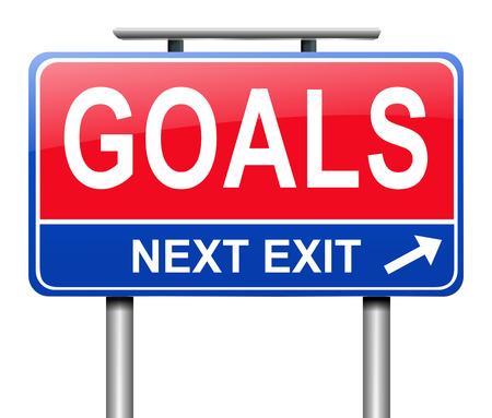 Illustration depicting a sign with a goal concept. Stock Photo