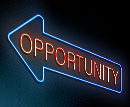 opportunity sign: Illustration depicting an illuminated neon sign with an opportunity concept.