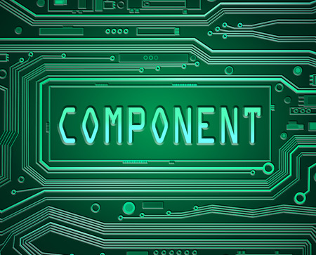 component parts: Abstract style illustration depicting a printed circuit board with a components concept.