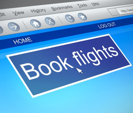 flight booking: Illustration depicting a computer screen capture with an online flight booking concept.
