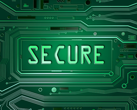 hacked: Abstract style illustration depicting printed circuit board components with a not secure concept.