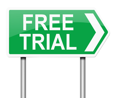 free trial: Illustration depicting a sign with a free trial concept.