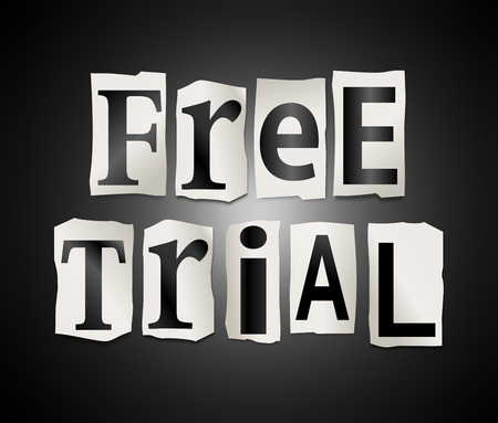 free trial: Illustration depicting a set of cut out printed letters arranged to form the words free trial.
