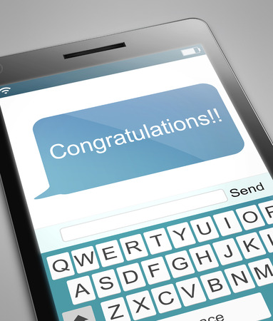congratulations word: Illustration depicting a phone with a congratulations concept. Stock Photo