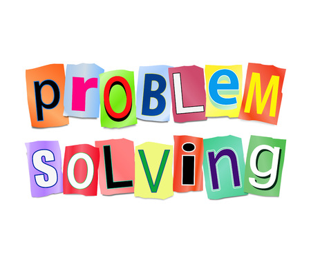 Illustration depicting a set of cut out printed letters arranged to form the words problem solved.