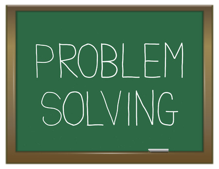problem solving: Illustration depicting a green chalkboard with a problem solving concept.
