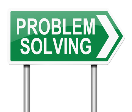 Illustration depicting a sign with a problem solving concept.