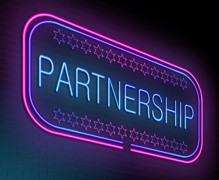 corporations: Illustration depicting an illuminated neon sign with a partnership concept. Stock Photo