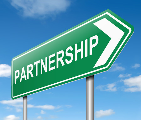 Illustration depicting a sign with a partnership concept.