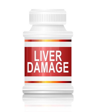 medication: Illustration depicting a medication container with a liver damage concept. Stock Photo