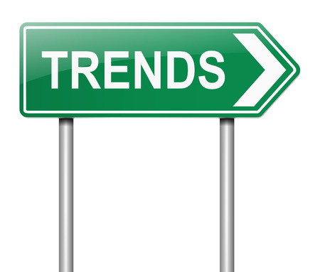 tendencies: Illustration depicting a sign with a trendsl concept. Stock Photo
