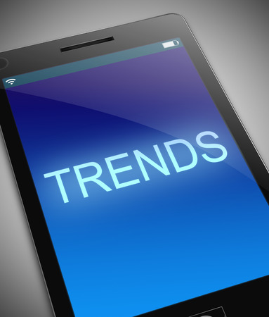 tendencies: Illustration depicting a phone with a trends concept.