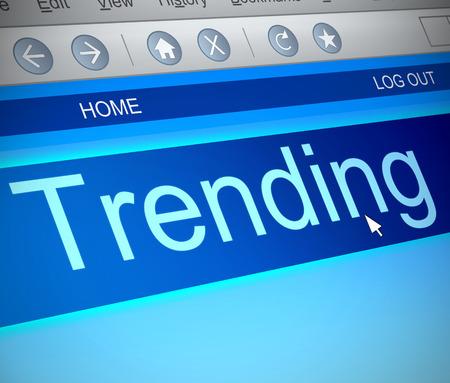 trending: Illustrazione raffigurante una cattura dello schermo del computer con un concetto di trend. Archivio Fotografico