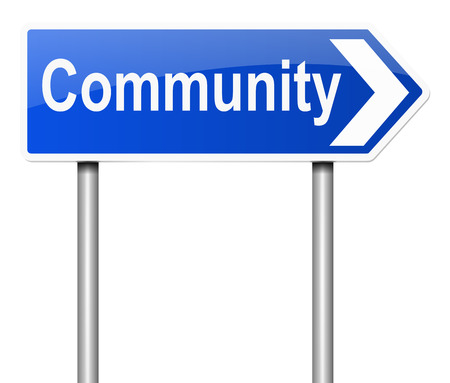 commune: Illustration depicting a sign with a community concept.