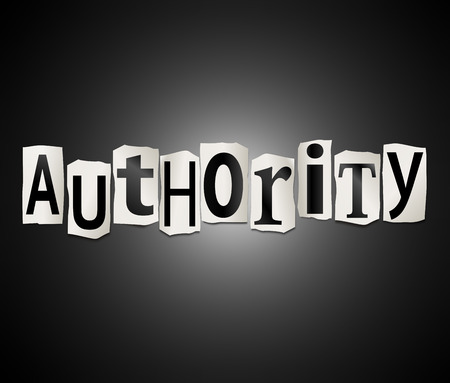 authority: Illustration depicting a set of cut out printed letters arranged to form the word authority.