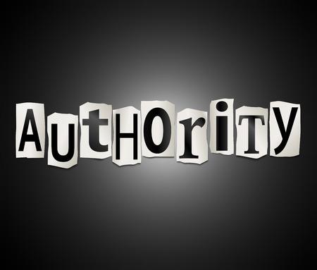 autoridad: Ilustración que muestra un conjunto de letras impresas recortadas dispuesto para formar la palabra autoridad. Foto de archivo