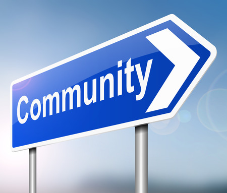 likeness: Illustration depicting a sign with a community concept.