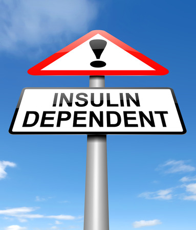 insulin: Illustration depicting a sign with an insulin dependency concept.