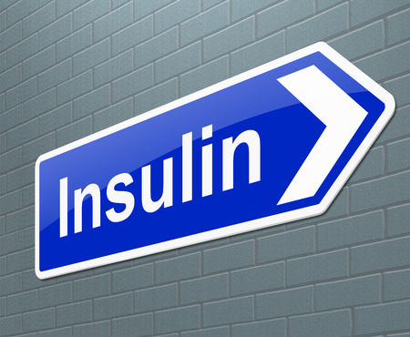 hyperglycemia: Illustration depicting a sign with an insulin concept.