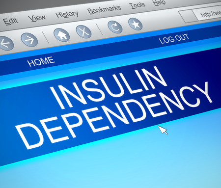 Illustration depicting a computer screen capture with an insulin dependency concept.