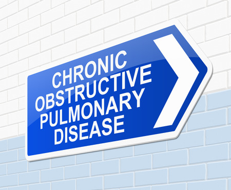 emphysema: Illustration depicting a sign with a chronic obstructive pulmonary disease concept.