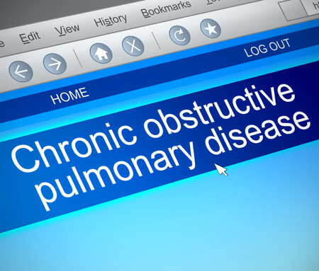 emphysema: Illustration depicting a computer screen capture with a COPD concept.