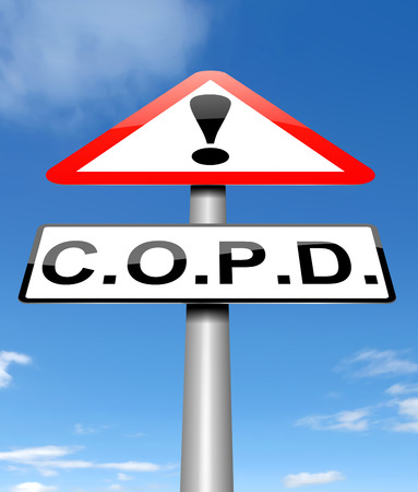 obstructive: Illustration depicting a sign with a chronic obstructive pulmonary disease concept.