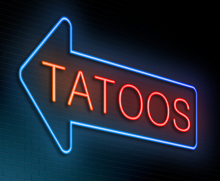 blue signage: Illustration depicting an illuminated neon sign with a tatoo concept.