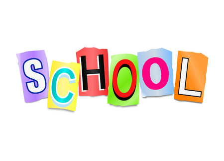 education background: Illustration depicting a set of cut out printed letters arranged to form the word school. Stock Photo