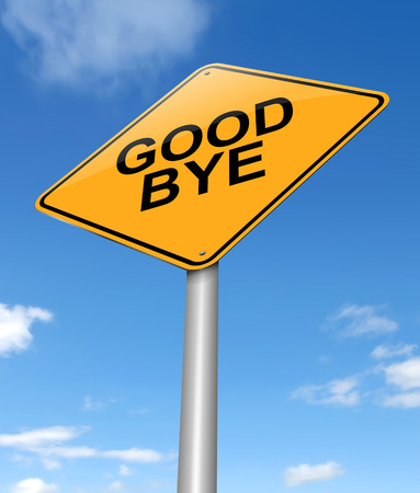 Illustration depicting a sign with a goodbye concept.