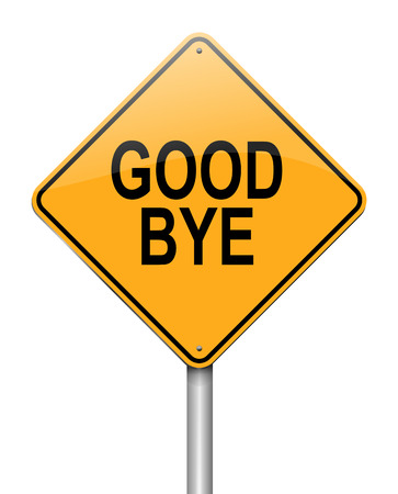 goodbye: Illustration depicting a sign with a goodbye concept.