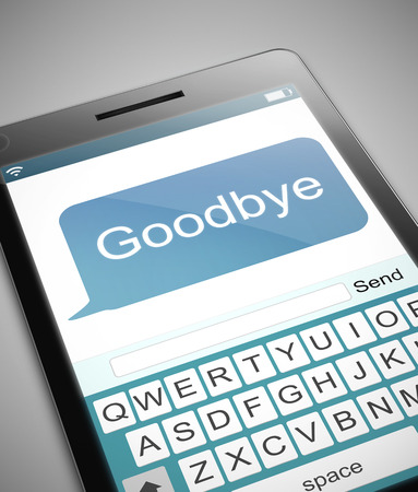 farewell: Illustration depicting a phone with a goodbye text message concept.