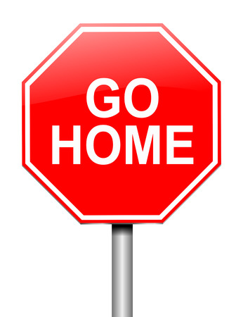 returning: Illustration depicting a sign with a go home concept.