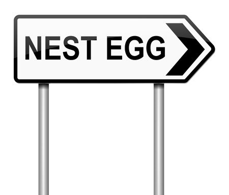 stockpile: Illustration depicting a sign with a nest egg concept.