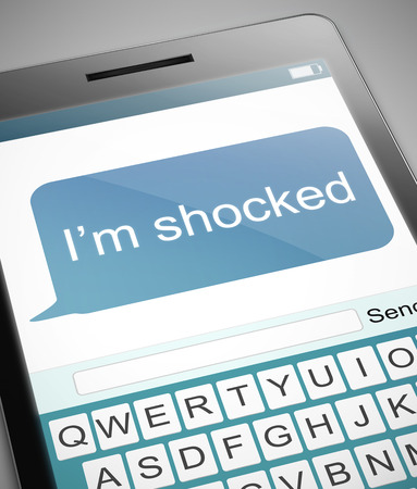 insulted: Illustration depicting a phone with a shocked text message concept.