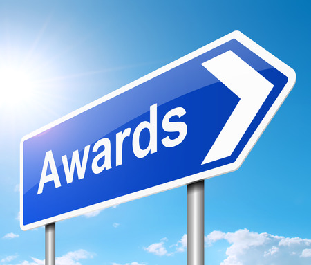 awarded: Illustration depicting a sign with an awards concept.