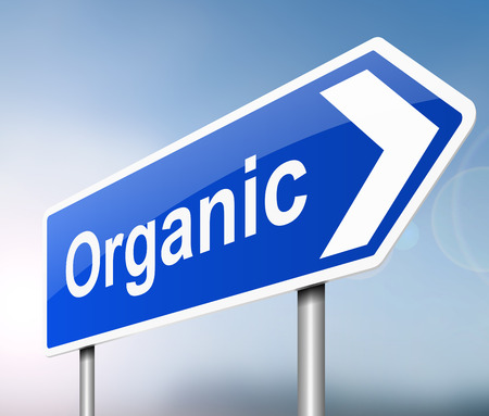 unprocessed: Illustration depicting a sign with an organic concept. Stock Photo