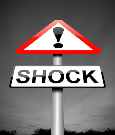 insult: Illustration depicting a sign with a shock concept.
