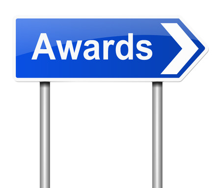Illustration depicting a sign with an awards concept.