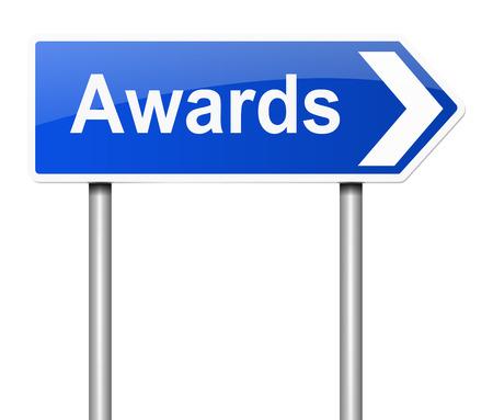 rewarded: Ilustraci�n que muestra una se�al con un concepto de premios.