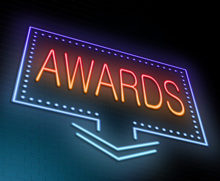 Illustration depicting an illuminated neon sign with an awards concept.