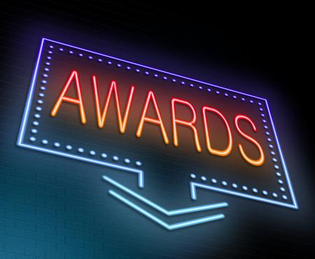 rewarded: Ilustraci�n que muestra un letrero de ne�n iluminado con un concepto de premios.