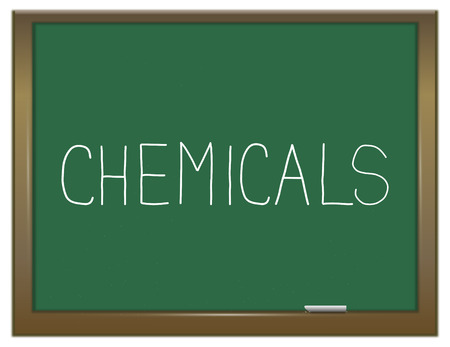 substances: Illustration depicting a green chalkboard with a chemicals concept.