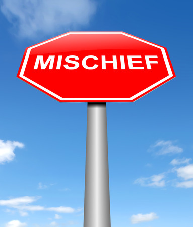 prank: Illustration depicting a sign with a mischief concept. Stock Photo