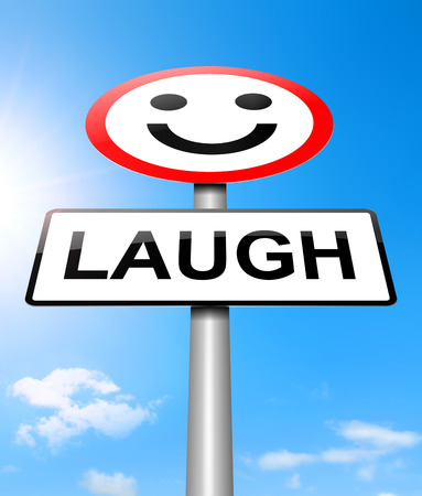 contentment: Illustration depicting a sign with a laughter concept.