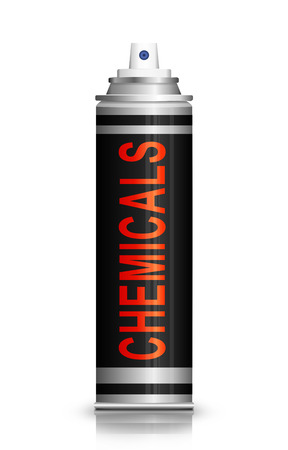 aerosol can: Illustration depicting an aerosol can with a chemicals concept.