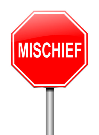 mischief: Illustration depicting a sign with a mischief concept. Stock Photo