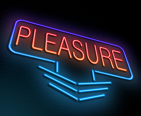 indulgence: Illustration depicting an illuminated neon sign with a pleasure concept.
