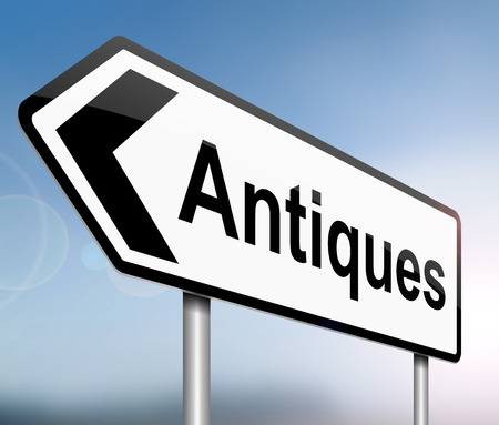 relic: Illustration depicting a sign with an antiques concept.